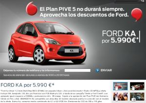 Publicidad del Ka esta tarde, en la página de Ford.
